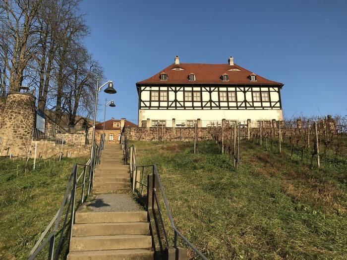 Clear Sky Hiking Historical Building Hoflößnitz Stairs Architecture Built Structure Old House Vineyard