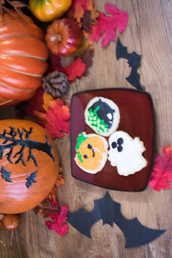 Baked Goods Cookies Halloween Halloween Treats SugarCookies Treats Close-up Day Festive Food Food And Drink Freshness Halloween Indoors  Multi Colored No People Still Life Sugar Cookies Table