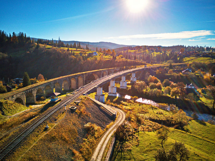 Sky Environment Landscape Transportation Nature Sunlight Plant Road No People High Angle View Day Rail Transportation Scenics - Nature Beauty In Nature Land Sun Outdoors Architecture Tree Lens Flare Track Railroad Viaduct Bridge - Man Made Structure Autumn