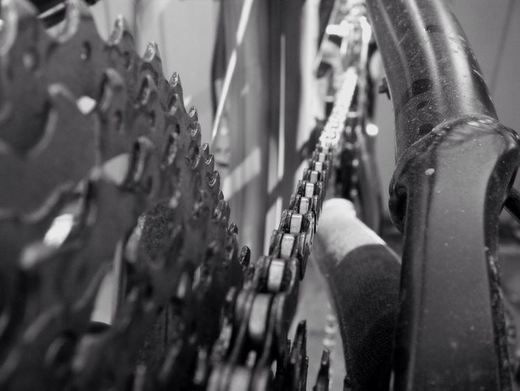 links and pins keep it all together Gears Sprocket Cassette Cogs Bicycle Chain Chain Link Bike Bicycle MTB Mountainbike Perspective Close-up Machinery Moving Parts Blackandwhite Black And White System Monochrome No Budget Photography
