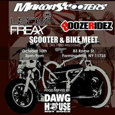 Don't forget this Saturday come it to @makoa_scooters scooters & bike meet. So get those 2 wheels clean for a chill day and maybe some riding after the meet and greet. Food will be provided by the good guys of @dobbsdawghouse come out and chill with @usdmfreax_magazine & @boozeridez get some pictures taken and see some old friends and make new ones. Family always starts with a passion shared amongst strangers. Nycalive Makoascooters Makoasquad Farmingdale usdmfreax boozeridez dawghouse hondalife twowheels rideordie 2wheels bikelife ruckus ruckuslife gy6 totalruckus hondaruckus grom gromlife mx125 cbr fortheloveofmotorcycles stuntin composimo