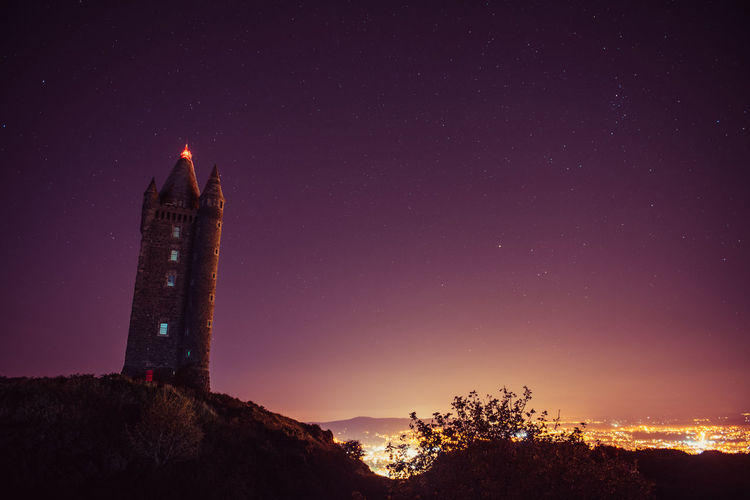 Low Angle View Of Scrabo Tower Against Sky At Night
