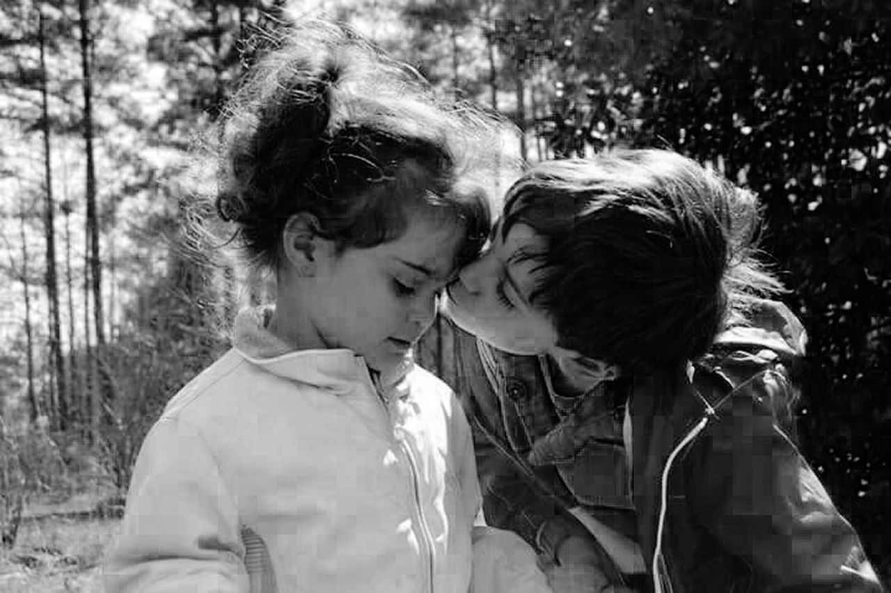 two people, togetherness, love, childhood, child, outdoors, day, tree, people, headshot, standing, children only, bonding, girls, males, boys, happiness, adult, young adult, close-up