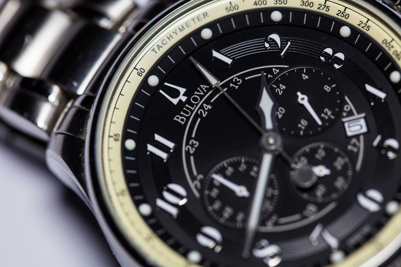 wristwatch, watch, time, metal, close-up, jewelry, fashion, stainless steel, minute hand, stopwatch, timer, technology, no people, black background, clock face, day