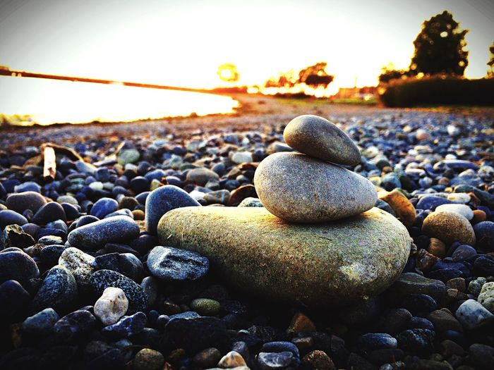 Beautiful image Chill Happy Pebble Stone - Object Rock - Object Beach Sea Sunset Nature No People Pebble Beach Balance Beauty In Nature Water Outdoors Close-up Day Sky first eyeem photo EyeEmNewHere