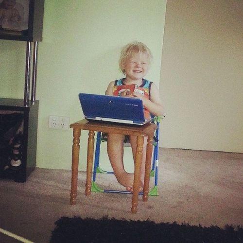 Little Man Reading Computing smartybum
