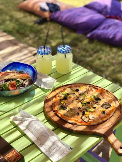 Lunch break at the beach 😋😍 Food And Drink Food Table Freshness Human Hand Hand One Person High Angle View Ready-to-eat Wellbeing Lifestyles Pizza Healthy Eating The Mobile Photographer - 2019 EyeEm Awards The Foodie - 2019 EyeEm Awards My Best Photo