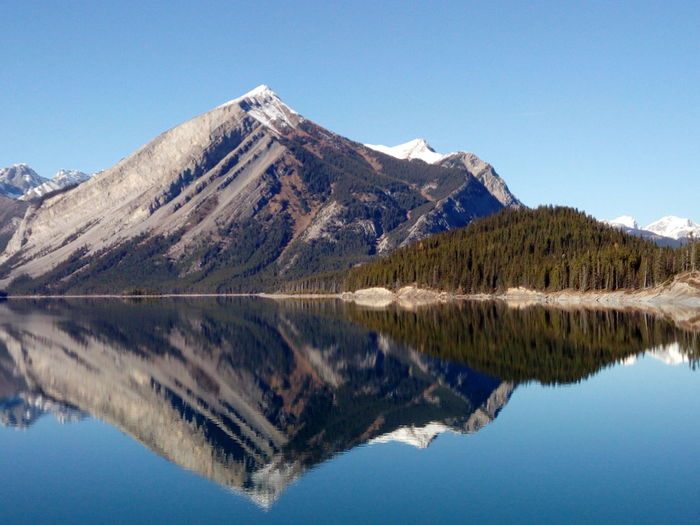Reflection of mountains and lake against clear blue sky