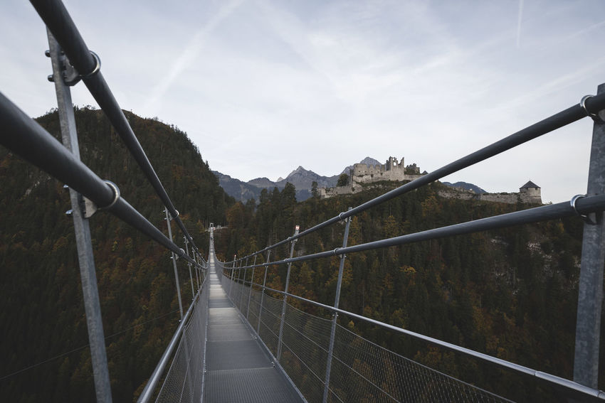 Austria Castle Highline Hiking Tirol  View Adventure Brigde Dare Forest Hiking Adventures Mountains Place To Visit Sky Sructure Steel Structure  Suspension Bridge