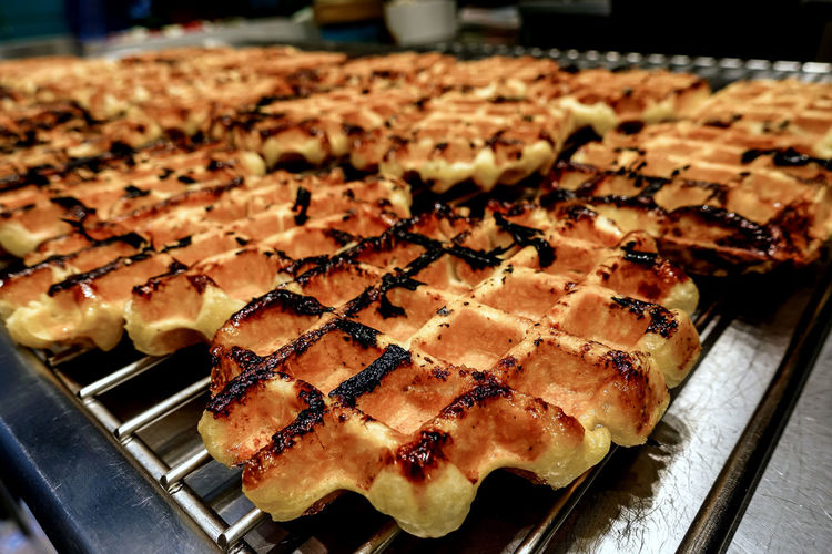 Close-Up Of Waffles On Grill