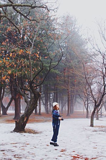 Portrait Winter Snow Trees And Sky Treescollection Korea Portrait Of A Woman Jumpsuit First Eyeem Photo