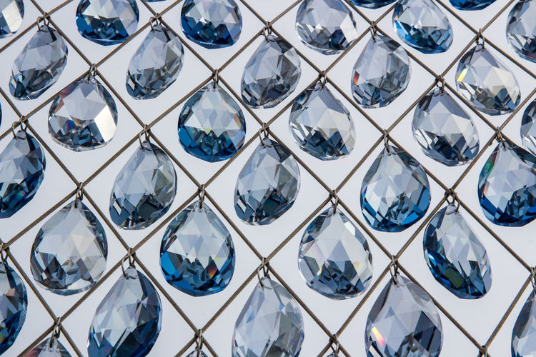 Full Frame Pattern Backgrounds No People Repetition Indoors  Design Glass - Material Close-up In A Row Shape Metal Reflection Transparent White Color Blue Side By Side Shiny Day Luxury Silver Colored