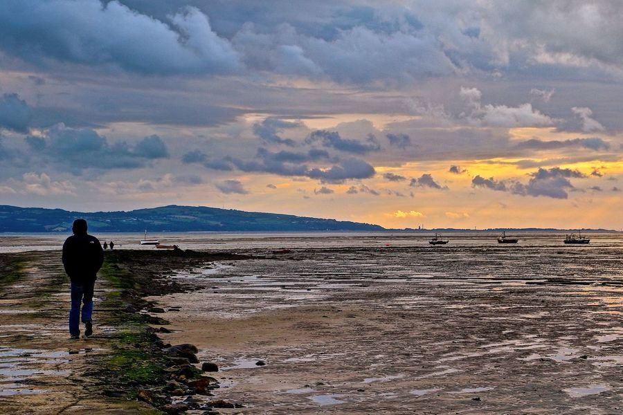 Beauty In Nature Calm Dramatic Sky England England🇬🇧 Men Mountain Range Mud Flat Nature Ocean Outdoors Scenics Sea Sunset Tranquil Scene Tranquility Vacations Water Wirralcountrypark My Year My View