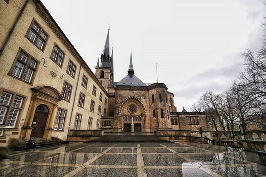 Cathedral of Notre Dame in Luxembourg city on a sad, rainy winter afternoon EEprojects Luxembourg Notredame RainyDays Symmetrykillers Symmetricalmonsters Architecturephotography Architecture Exploretocreate Awesomeglobe Design Earthfocus Building LiveTravelChannel Canon_photos Structure Moodygrams Artofvisuals Xabandonedx Reflection_shotz Reflectiongram History Cathedral Religion Catholic