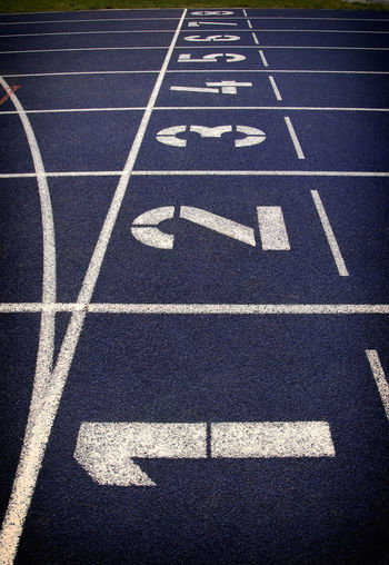 Numbers on sports track