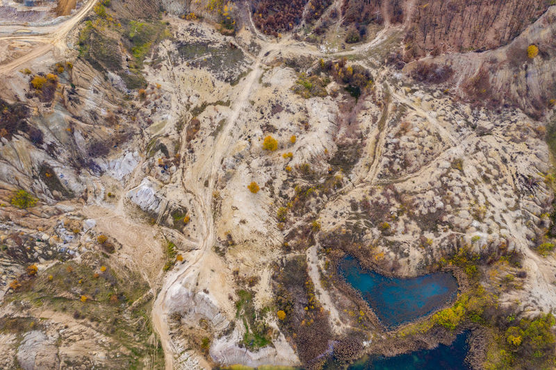 High angle view of rock formation