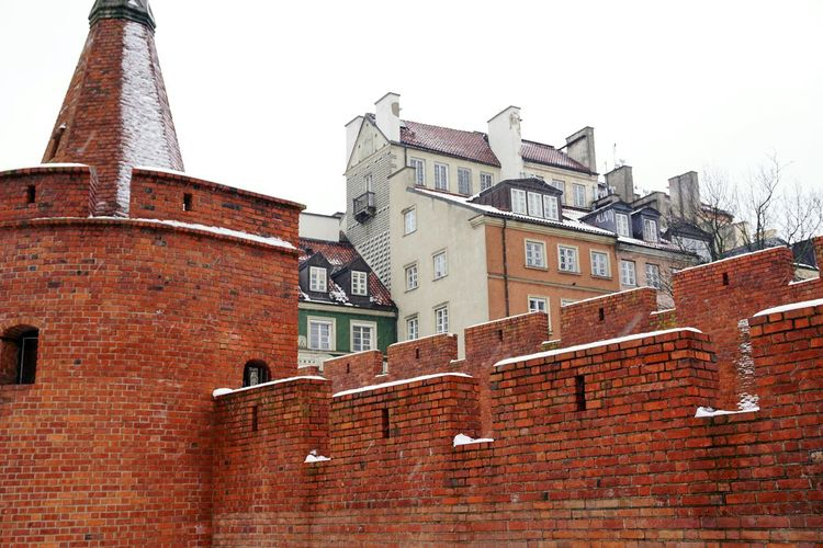 Snow Winter Wintertime Brickwall Oldtown Warsaw Brick Brick Wall Wall View Defensive Wall Houses Colorful Architecture Building Exterior Red No People Built Structure City Outdoors Day Sky