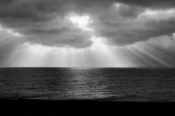 Black And White Photography Sky Water Sea Horizon Cloud - Sky Horizon Over Water Beauty In Nature Scenics - Nature Tranquility Tranquil Scene Nature No People Idyllic Sunlight Sunbeam Outdoors Storm Overcast Contemplation
