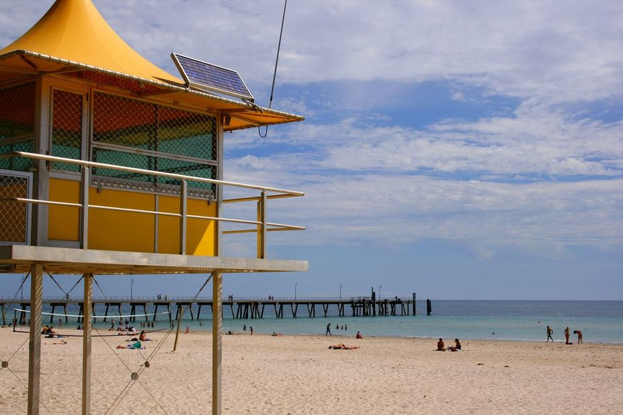 A surf life saving station on a Glenelg beach in South Australia Architecture Australia Australian Landscape Beach Beauty In Nature Building Exterior Built Structure Coastline Day Horizon Over Water Lifeguard Hut Nature Observation Tower Outdoors Pier Prevention Protection Real People Sand Scenics Sea Sky Tranquil Scene Tranquility Water