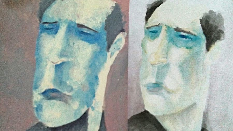 2 versions of Mr. Longface, one in acrylic, the other in watercolor. Acrylic Watercolor Painting Throwback