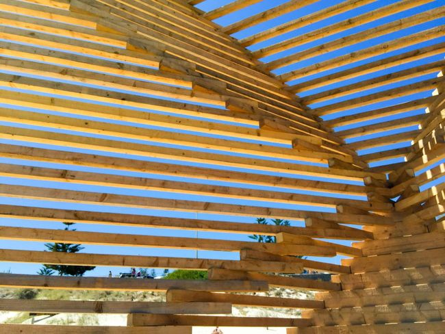 Intersections Lines Intersecting Lines Graphic Design Blue Sky Modern Art Wooden Wooden Sculpture March 12,2016 Cottesloe Beach Western Australia Sculptures Sculptures By The Sea Wood Abstract Art Closeup 2X4 Pine Pine Wood Slats Arts Festivals ArtWork Abstract