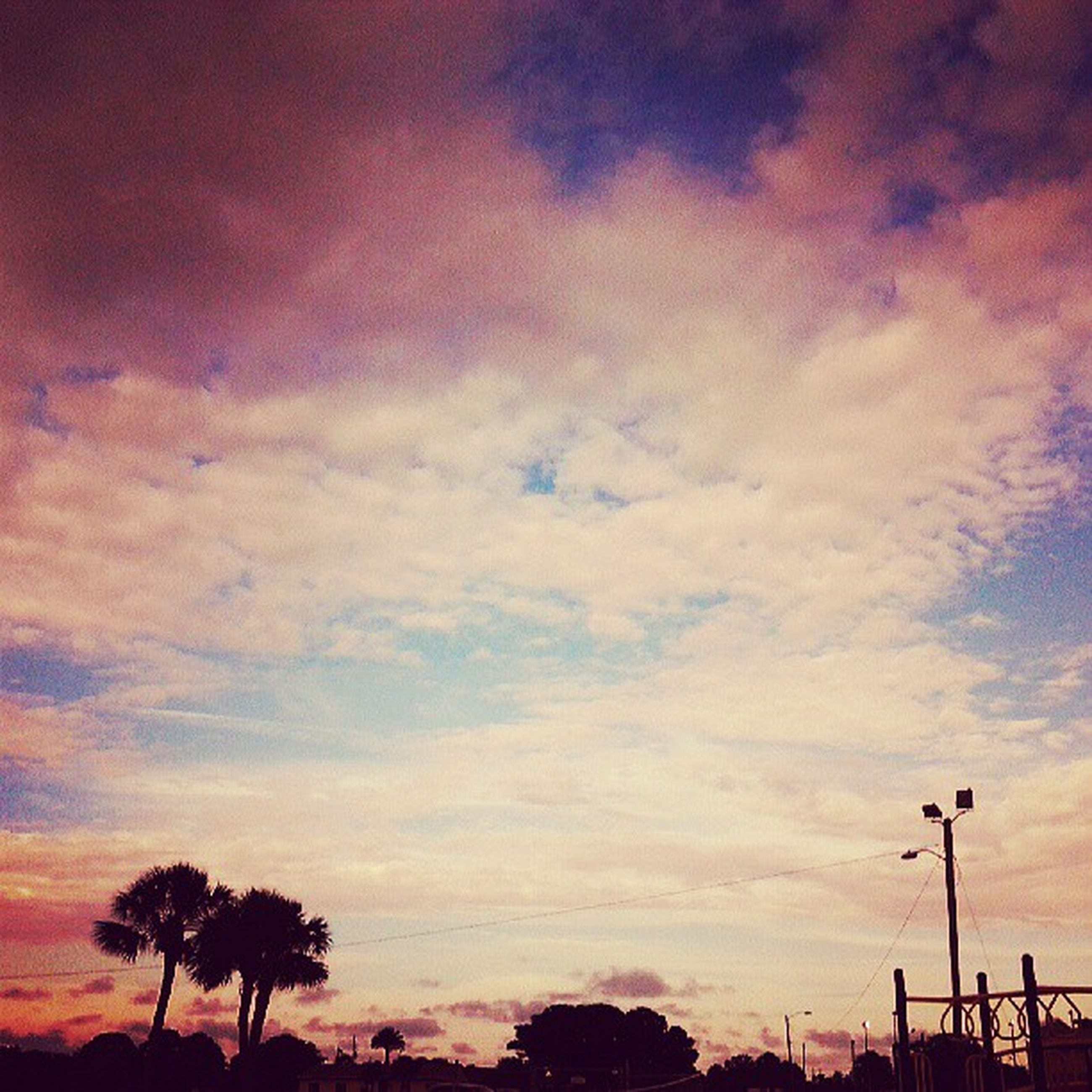 sunset, sky, silhouette, tree, beauty in nature, tranquility, scenics, cloud - sky, low angle view, tranquil scene, nature, orange color, cloud, cloudy, idyllic, dramatic sky, street light, dusk, palm tree, outdoors