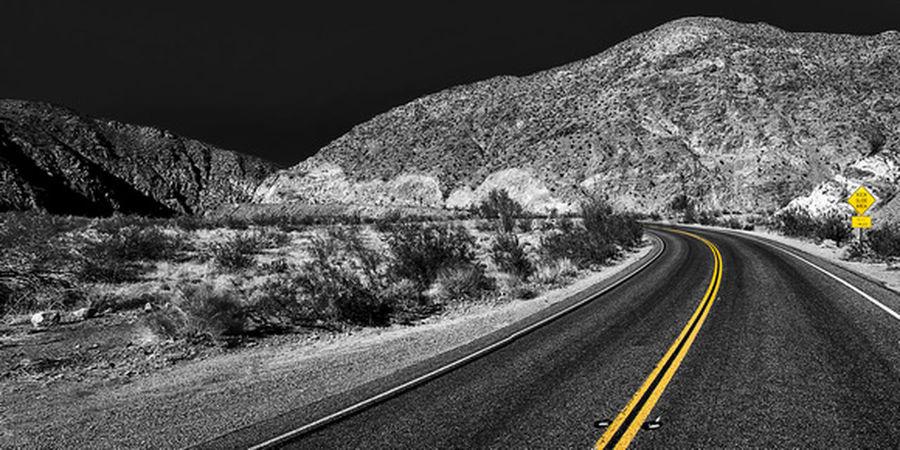Road Blackandwhite Desert