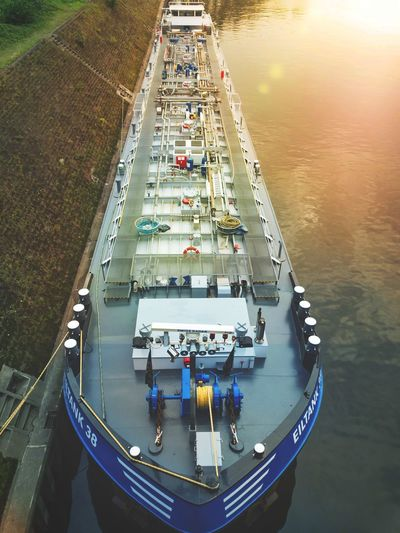 Duisburg, Germany - August 1st 2017: Tank ship in the port of Duisburg Tanker Tankship Duisburg Water High Angle View Port No People Europe Sea Nautical Vessel Business Eiltank 38 Industrial Transportation Travel Cargo Ship Liquid Cargo Lens Flare At Anchor Docking Winch