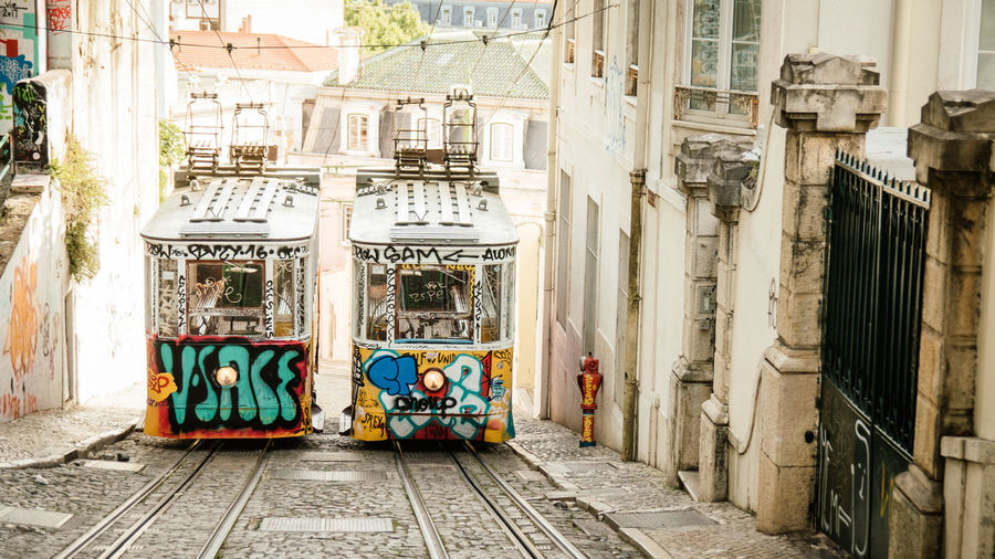 Cable Car in Lisbon Cable Car City Sunny Architecture Building Exterior Built Structure Cityescape Explore Lisbon Narrow Angle Narrow Street No People Outdoors Uphill