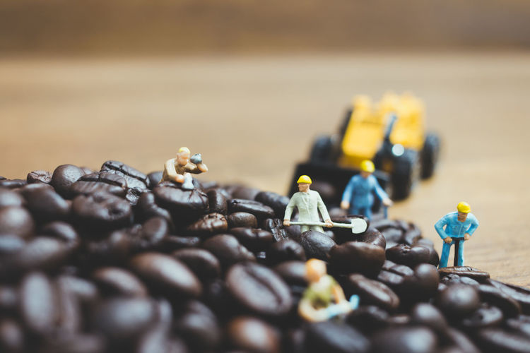 Aroma Background Beans Beverage Black Blend Brown Cafe Caffeine Coffee Concept Dark Drink Equipment Espresso Figure Human Ingredient Little Macro Miniature Natural People Process Roasted Seed Small Traditional Work Worker Working