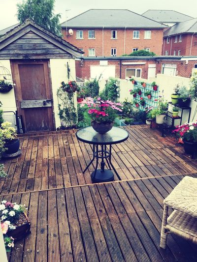Gardenpatio Garden Photography Table House Architecture Building Exterior Flower Wood - Material Built Structure Chair Plant No People Outdoors Day Nature Rainy Days Summerrain Nature Respect For The Good Taste