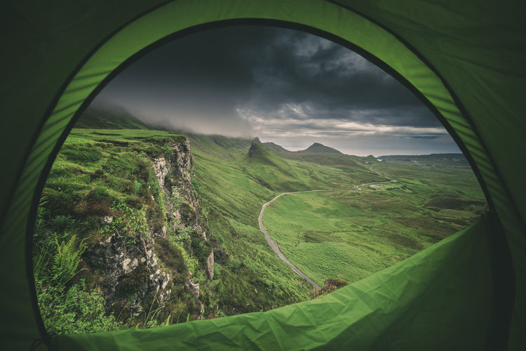Camping in Scotland at Quiraing Hill Camping Exploring Rain Rainy Days Road Weather Beauty In Nature Cloud - Sky Day Dull Green Color Highlands Highlands Of Scotland Landscape Mood Mountain Nature No People Quiraing Scenics Sky Tent Tranquil Scene Tranquility Trotternish Fresh On Market 2018