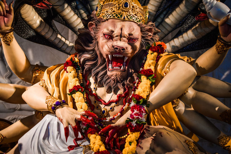 Low angle view of narasimha statue