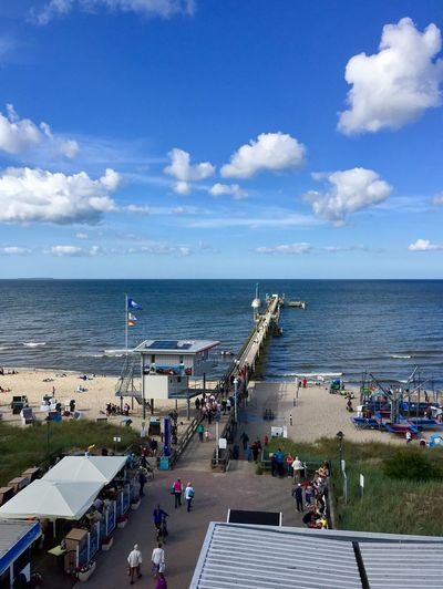 Sea Large Group Of People Sky Horizon Over Water Water Women Day Cloud - Sky Nature Men Leisure Activity Built Structure Lifestyles Outdoors Scenics Vacations Group Of People Blue Real People Architecture Zinnowitz Balticsea Beach Usedom, Germany Usedom