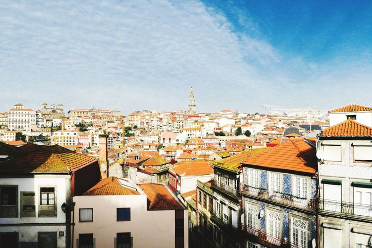 view over Porto old town with orange roofs Porto Old Town Blue Sky Spring Blue Sky City Cityscape Roof Architecture Building Exterior Built Structure