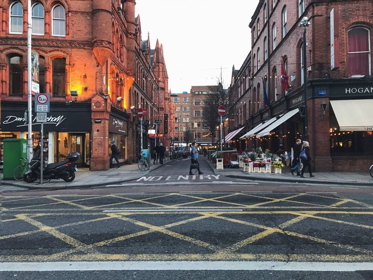 Dublin at dusk Travel Brick Yellow Road Lines Lights Ireland Dublin No Entry Road Lines Dusk Street Architecture City Street City Building Exterior Outdoors
