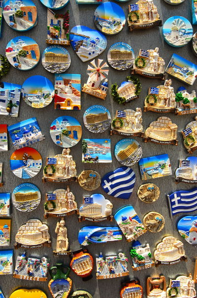 Souvenir magnets from Greece. Arrangement Choice Collection Colorful Design Display For Sale Fridge Magnets Greece Large Group Of Objects Magnet Magnet Souvenir Market Market Stall Multi Colored Objects Retail  Side By Side Souvenir Souvenirs/Gift Shop Tourism Travel Variation