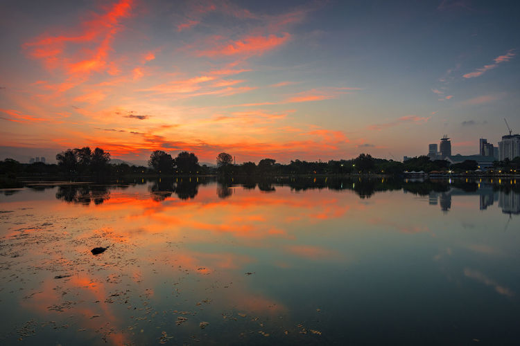 Reflection of clouds in lake at sunset