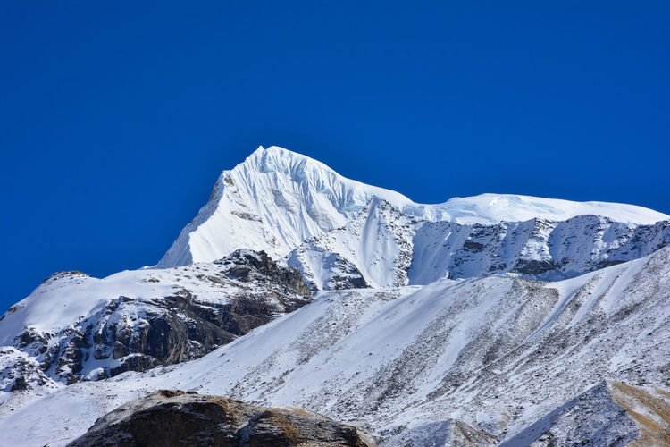 Scenic view of snowcapped mountains against clear blue sky, annapurna