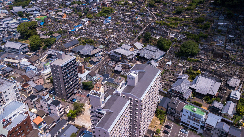 Aerial view of Nagasaki, Japan. Aerial view from drone. Atomic Big City City Cityscape Construction Drone  Japan Nagasaki Peace Skyline Travel View Aerial View Apartment Architecture Building Building Exterior City Cityscape Cityscapes Landscape Outdoors Park Town Urban