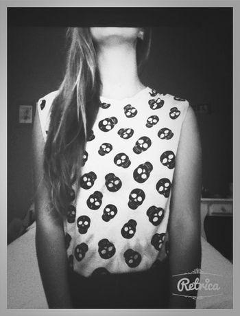 Girl Black And White Skulls Skull