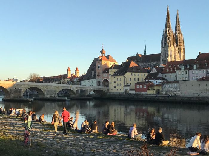 Regensburg on the Danube Architecture Built Structure Building Exterior Clear Sky River Water Large Group Of People Bridge - Man Made Structure Travel Destinations Day Outdoors City People Cityscape AMP PICTURES