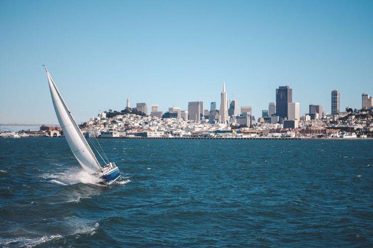 Sea Waterfront Blue City Nautical Vessel San Francisco Outdoors Sailboat Urban Skyline Day Clear Sky