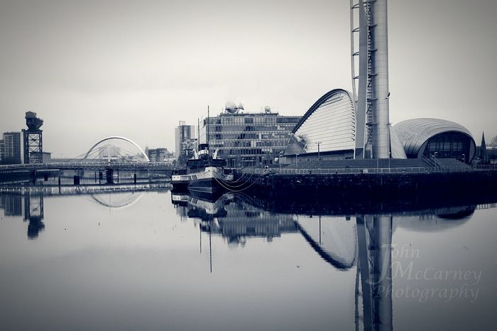 Finnieston Crane Squinty Bridge Millenium Bridge BBC Glasgow Science Centre  River Clyde Open Edit