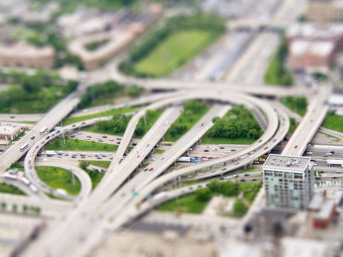 Automobile Bridge Cars Chicago Complexity Connection Freeway Geometric Shape High Angle View Highway Selective Focus Tilt Shift Tilt-shift Tiltshift Transportation