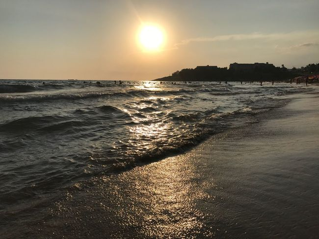 Sea Sunset Sun Water Beach Nature Sunlight Wave Beauty In Nature Sky Scenics Outdoors No People Horizon Over Water Day