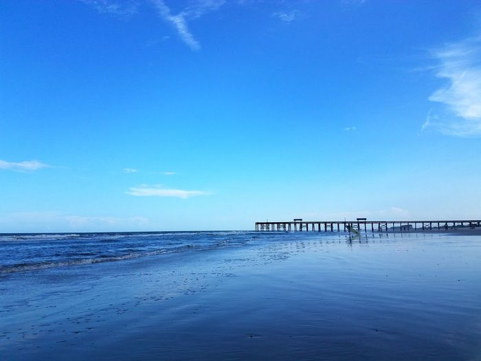 Ocean Waves Pier Beachside Blue Blue Sky Beautiful Nature Beach Travel Florida Atlantic Ocean Embrace The Moment No People Scenics
