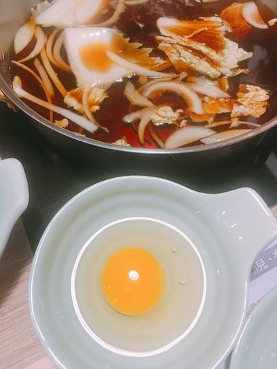 Food Food And Drink Healthy Eating Freshness Indoors  Bowl No People High Angle View Plate Ready-to-eat 食べ 卵 美味しい モモ肉 壽喜燒 Foodie