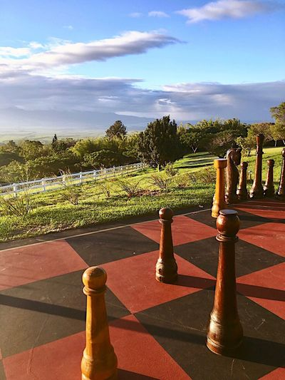 Outdoor Games Relaxation Hobby Landscape Outdoor Chess Chessboard Pieces Chess Figures Chess Game Chessgame Chessboard Chess Board Chess Piece Chess Sky Sunlight Shadow Nature Day Cloud - Sky No People Beauty In Nature In A Row Tranquility Outdoors