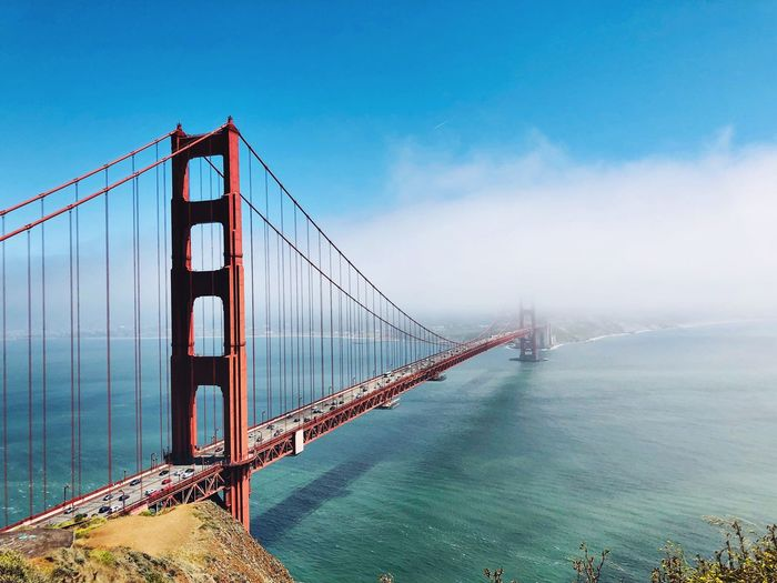 High angle view of golden gate bridge over bay in city